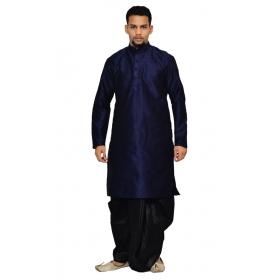 Amg Men's Silk Navy Blue Kurta Black Dhoti_amg-1212