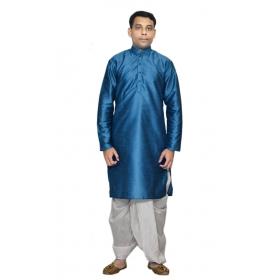 Amg Men's Silk Green Kurta  White Dhoti_amg-1213