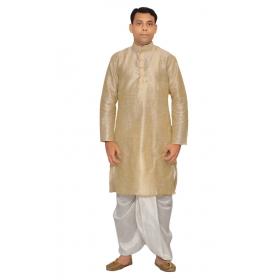 Amg Men's Silk Gold Kurta Multidupin Dhoti_amg-1220