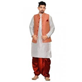 Amg Men's Silk Pink Waiscoat,white Kurta, Maroon Dhoti Set_amg-2004