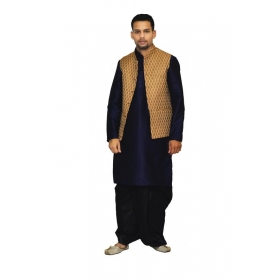 Amg Men's Silk Coper Gold Waiscoat, Dark Blue Kurta,black Dhoti Set_amg-2005