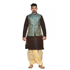 Amg Men's Silk Green Gold Waiscoat,brown Kurta,gold Dhoti Set_amg-2008