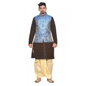 Amg Men's Silk  Royal Blue Gold Waiscoat,brown Kurta,gold Dhoti Set_amg-2009