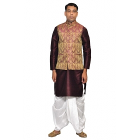 Amg Men's Silk Voilet Gold Waiscoat,violet Kurta,white Dhoti Set_amg-2013
