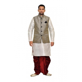 Amg Men's Silk Black Waiscoat, White Kurta, Red Dhoti Set_amg-2019