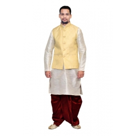 Amg Men's Silk Cream Waiscoat,white Kurta,maroon Dhoti Set_amg-2022