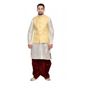 Amg Men's Silk Cream Waiscoat,white Kurta,maroon Dhoti Set_amg-2022