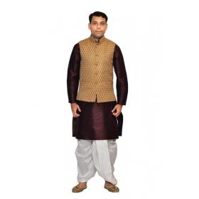 Amg Men's Silk Coper Gold Waiscoat,purple Kurta,white Dhoti Set_amg-2028