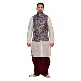 Amg Men's Silk Blue Waiscoat,grey Kurta,maroon Dhoti Set_amg-2030