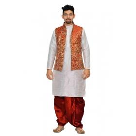 Amg Men's Silk Red Gold Waiscoat,white Kurta,red Dhoti Set_amg-2036
