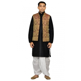 Amg Men's Silk Voilet Gold Waiscoat,black Kurta,white Dhoti Set_amg-2038
