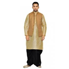 Amg Men's Silk Coper Gold Waiscoat,gold Kurta,black Dhoti Set_amg-2039