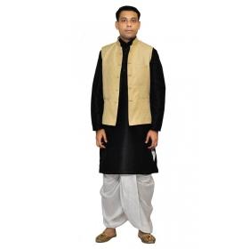 Amg Men's Silk Gold Waiscoat,balck Kurta,white Dhoti Set_amg-2041