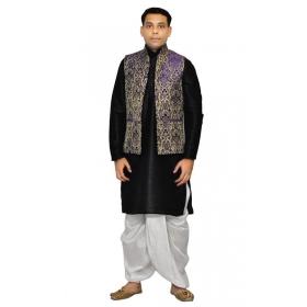 Amg Men's Silk Blue Waiscoat,black Kurta,white Dhoti Set_amg-2044