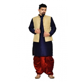 Amg Men's Silk Cream Waiscoat,navy Blue Kurta,red Dhoti Set_amg-2046