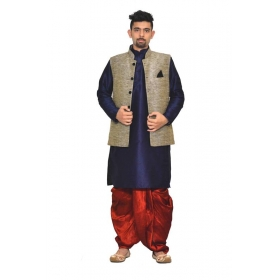 Amg Men's Silk Black Waiscoat,navy Blue Kurta,maroon Dhoti Set_amg-2048