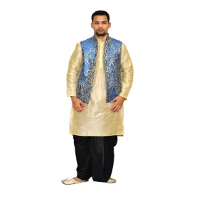 Amg Men's Silk Royal Blue Waiscoat,copper Gold Kurta,black Dhoti Set_amg-2050