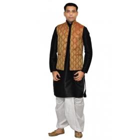 Amg Men's Silk Maroon Gold Waiscoat,black Kurta,white Dhoti Set_amg-2051