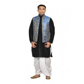 Amg Men's Silk Royal Blue Waiscoat,black Kurta,white Dhoti Set_amg-2053