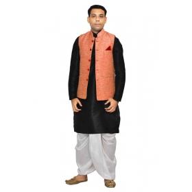 Amg Men's Silk Pink Waiscoat,black Kurta,white Dhoti Set_amg-2054