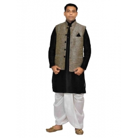 Amg Men's Silk Black Waiscoat,black Kurta,white Dhoti Set_amg-2055