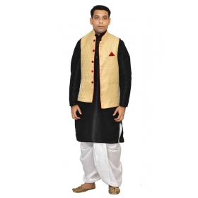 Amg Men's Silk Dark Gold Waiscoat,black Kurta,white Dhoti Set_amg-2056