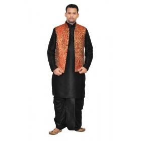 Amg Men's Silk Maroon Gold Waiscoat,black Kurta,black Dhoti Set_amg-2060