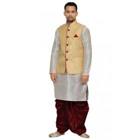 Amg Men's Silk Dark Gold Waiscoat,silver Kurta, Maroon Dhoti Set_amg-2063