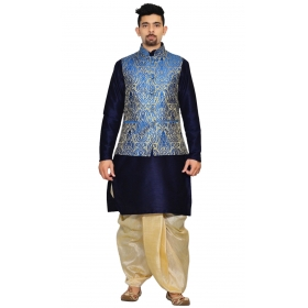 Amg Men's Silk Royal Blue Waiscoat,navy Blue Kurta,gold Dhoti Set_amg-2064