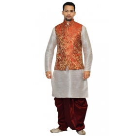 Amg Men's Silk Red Gold Waiscoat,white Kurta,maroon Dhoti Set_amg-2068