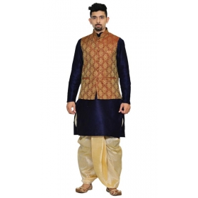 Amg Men's Silk Maroon Gold Waiscoat,navy Blue Kurta,gold Dhoti Set_amg-2069