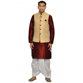 Amg Men's Silk Dark Gold Waiscoat,red Kurta,white Dhoti Set_amg-2070