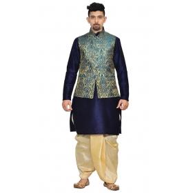 Amg Men's Silk Green Gold Waiscoat,navy Blue Kurta,gold Dhoti Set_amg-2073