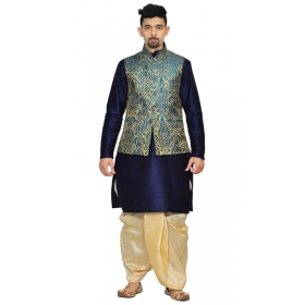 Amg Men's Silk Green Gold Waiscoat,navy Blue Kurta,gold Dhoti Set_amg-2073