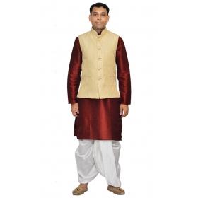 Amg Men's Silk Cream Waiscoat,red Kurta,white Dhoti Set_amg-2075