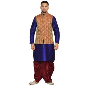 Amg Men's Silk Maroon Gold Waiscoat,royel Blue Kurta,maroon Dhoti Set_amg-2076