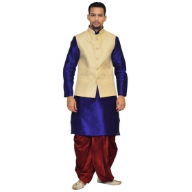 Amg Men's Silk Cream Waiscoat,royal Blue Kurta,maroon Dhoti Set_amg-2079