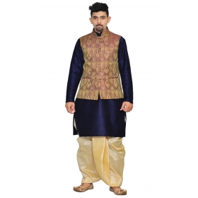 Amg Men's Silk Voilet Gold Waiscoat,navy Blue Kurta,gold Dhoti Set_amg-2083