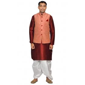 Amg Men's Silk Pink Waiscoat,red Kurta,white Dhoti Set_amg-2084