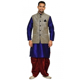 Amg Men's Silk Black Waiscoat,dark Blue Kurta,maroon Dhoti Set_amg-2085