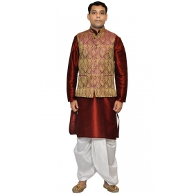 Amg Men's Silk Voilet Gold Waiscoat,red Kurta,white Dhoti Set_amg-2087