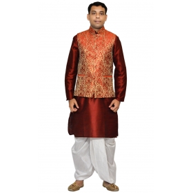 Amg Men's Silk Red Gold Waiscoat,red Kurta,white Dhoti Set_amg-2095