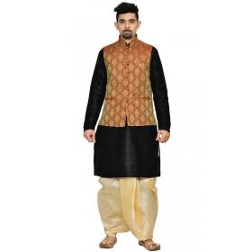 Amg Men's Silk Maroon Gold Waiscoat,black Kurta Gold Dhoti Set_amg-2099