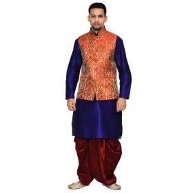 Amg Men's Silk Red Gold Waiscoat,blue Kurta Red Dhoti Set_amg-2100