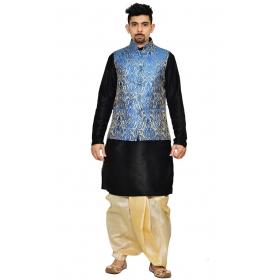 Amg Men's Silk Royal Blue Waiscoat,black Kurta Gold Dhoti Set_amg-2101