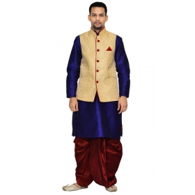 Amg Men's Silk Dark Gold Waiscoat,royal Blue Kurta,maroon Dhoti Set_amg-2107