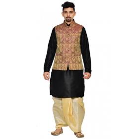 Amg Men's Silk Voilet Waiscoat,black Kurta, Gold Dhoti Set_amg-2112