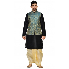 Amg Men's Silk Green Gold Waiscoat,black Kurta,gold Dhoti Set_amg-2114