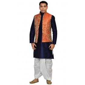 Amg Men's Silk Red Gold Waiscoat,d.blue Kurta,white Dhoti Set_amg-2117