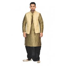 Amg Men's Silk Cream Waiscoat,coper Gold Kurta,black Dhoti Set_amg-2120